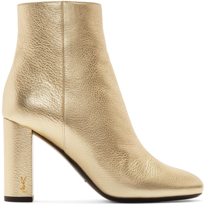 Saint Laurent Gold Loulou Zipped Boots