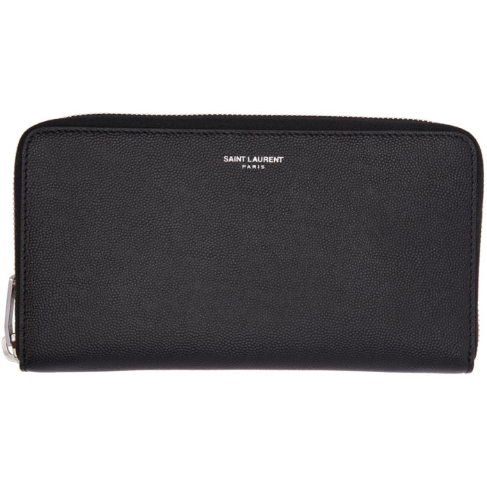 Saint Laurent Black Zip Around Wallet