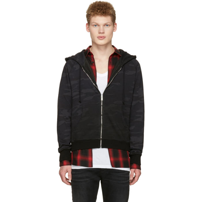 Saint Laurent Black Camo Zip Hoodie