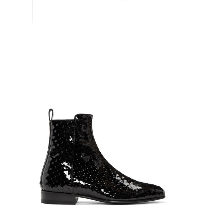 Saint Laurent Black Perforated Wyatt Zip Boots
