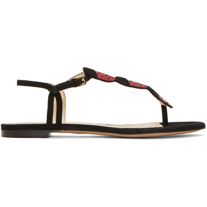 Charlotte Olympia Black Suede Lucky Sandals