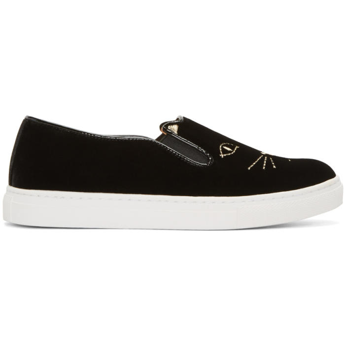 Charlotte Olympia Black Velvet Cool Cats Sneakers