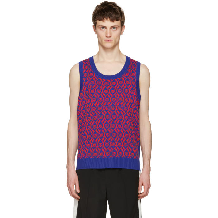 Gucci Blue and Red Exit 32 Inchiostro Vest