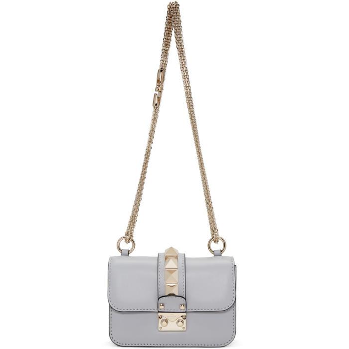 Valentino Grey Mini Lock Shoulder Bag