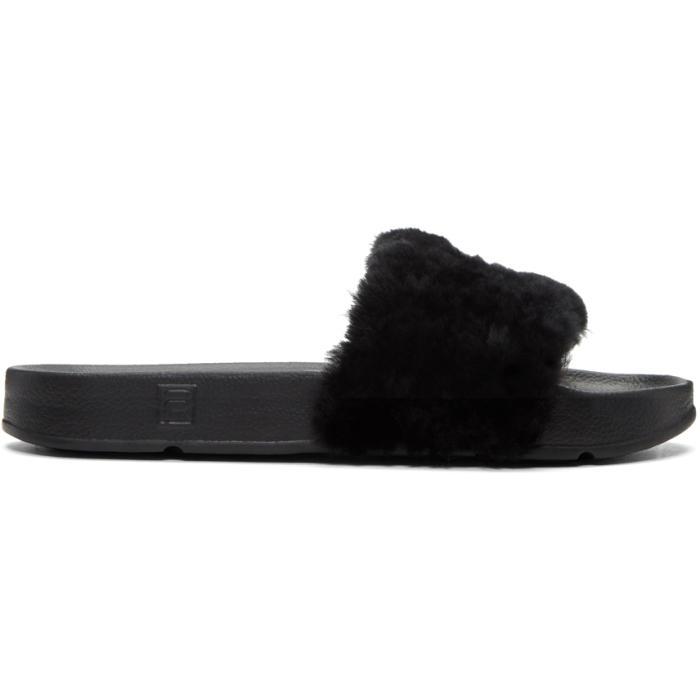Baja East Black Fila Edition Shearling Drifter Sandals