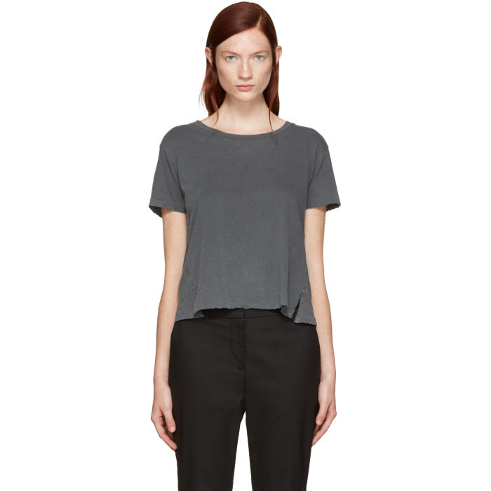 Amo Grey Twist Cut-Out T-Shirt