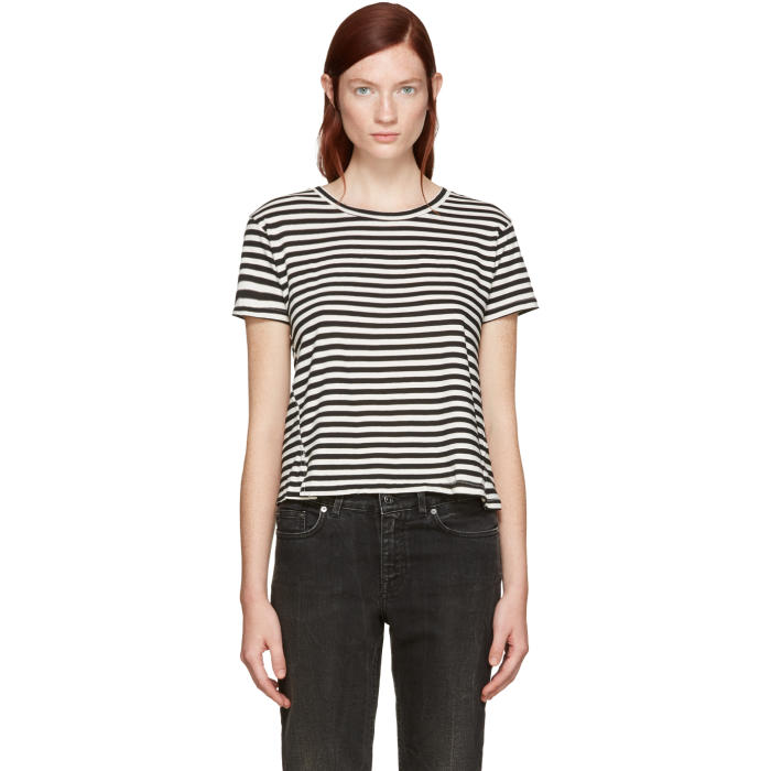 Amo Black Striped Twist Cut-Out T-Shirt