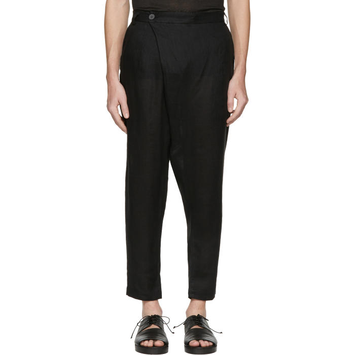 Isabel Benenato Black Linen Wrap Front Trousers