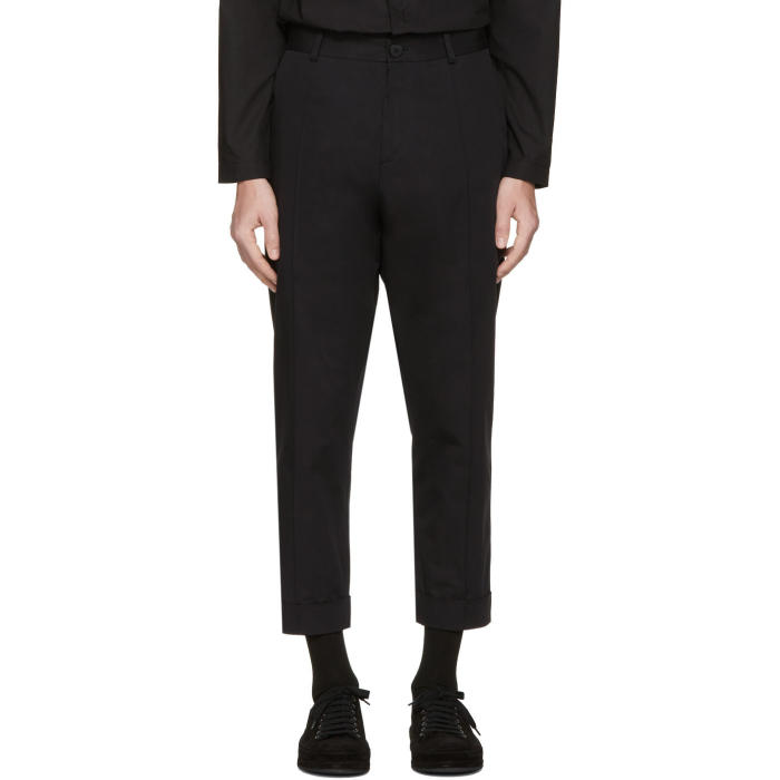 Isabel Benenato Black Cotton Trousers
