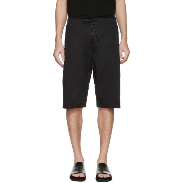 Isabel Benenato Black Cotton Zip Shorts