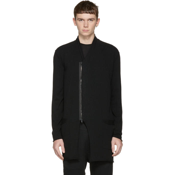 Isabel Benenato Black Zip-Up Cardigan