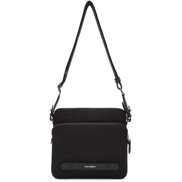 Dolce and Gabbana Black Canvas and Leather Messenger Bag