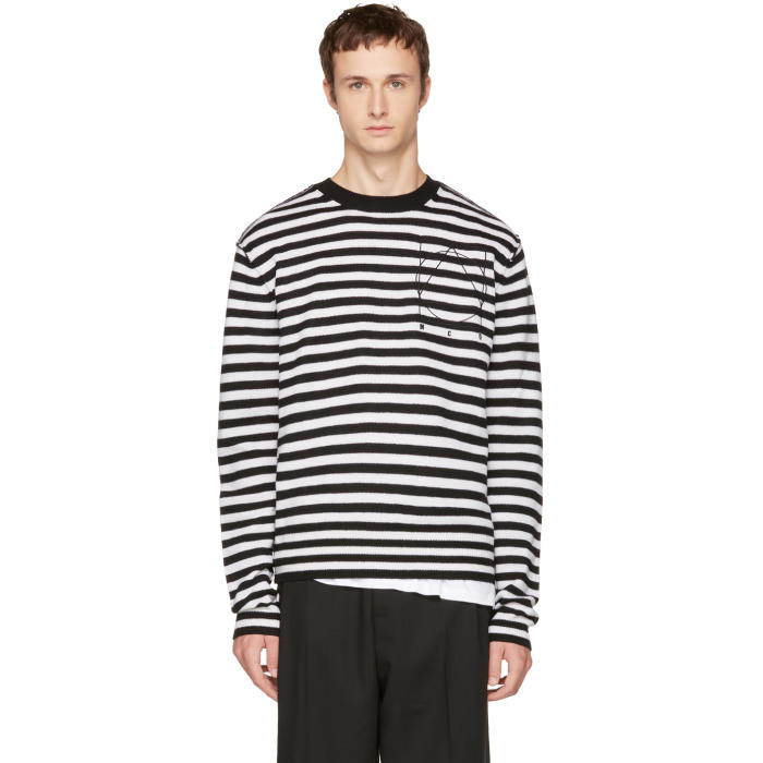 McQ Alexander McQueen Black and White Striped Glyph Logo Sweater