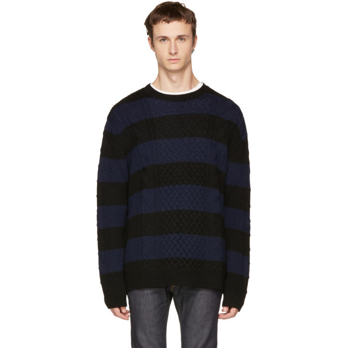 McQ Alexander McQueen Black and Navy Striped Cable Crewneck Sweater