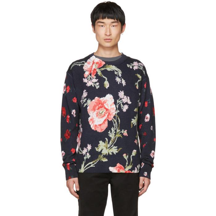 McQ Alexander McQueen Navy Thrift Store Florals Sweater