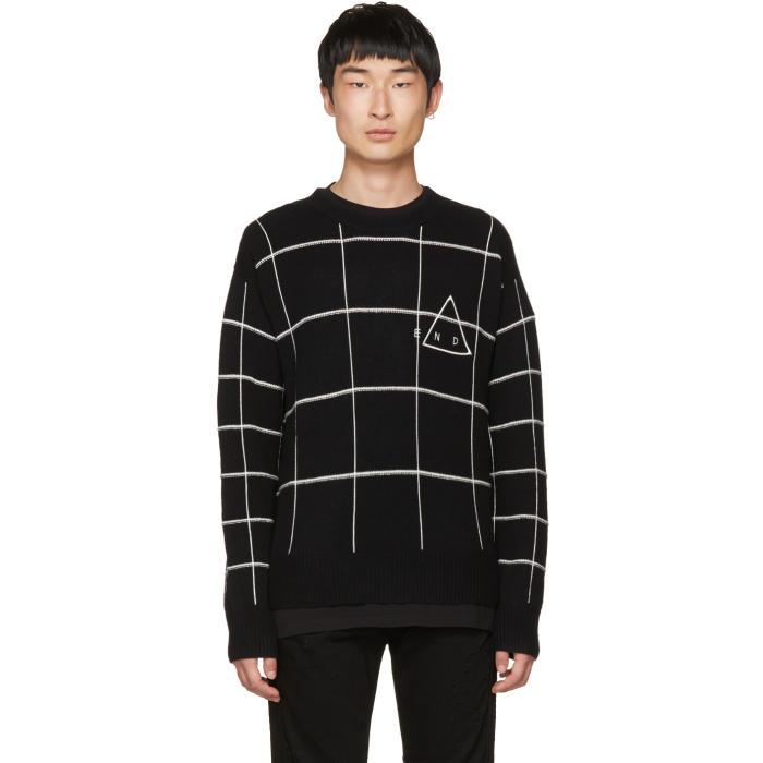 McQ Alexander McQueen Black End Grid Sweater