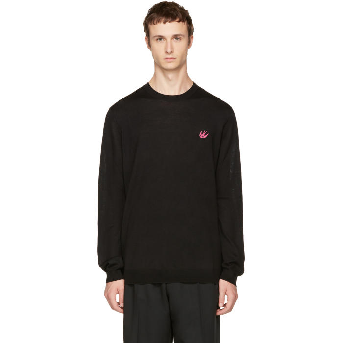 McQ Alexander McQueen Black Swallow Patch Pullover