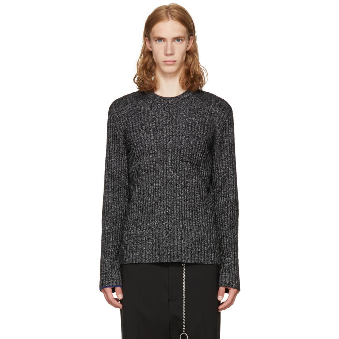 Maison Margiela Black and Off-White Ribbed Sweater