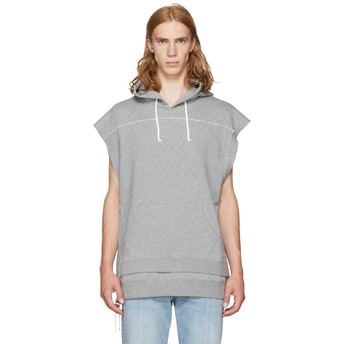 Maison Margiela Grey Sleeveless Hoodie
