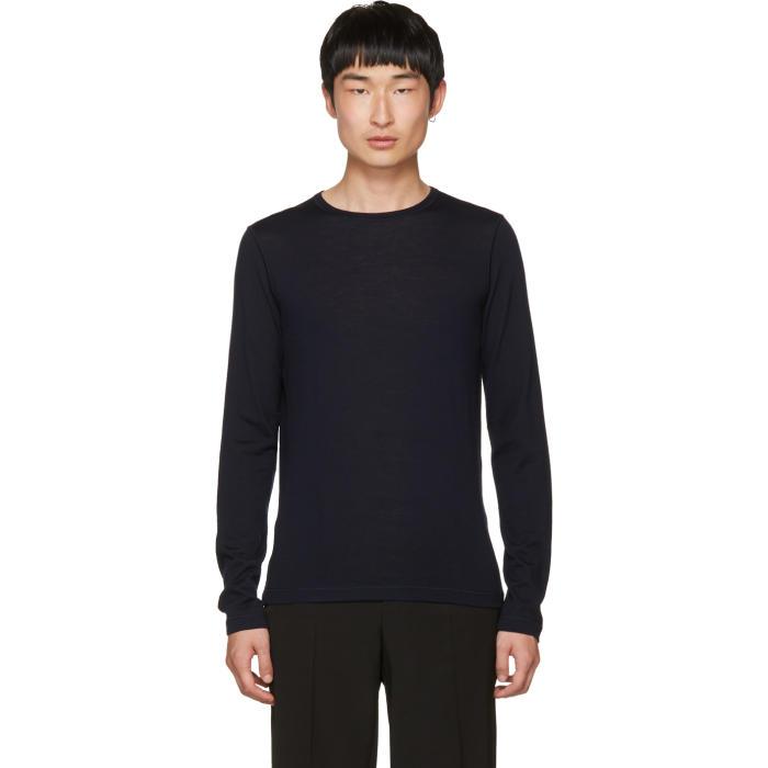 Jil Sander Navy Wool Crewneck Sweater