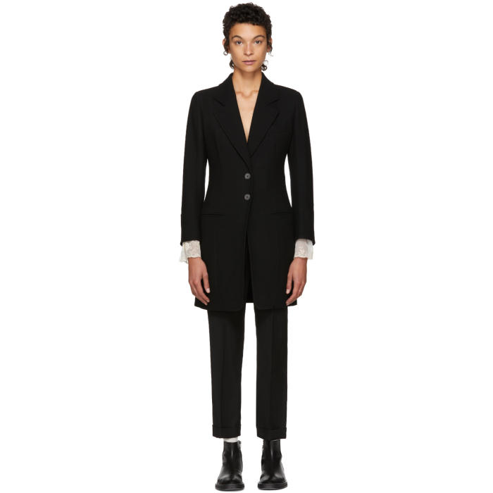 Ann Demeulemeester Black Long Howard Blazer Coat
