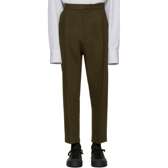 Ann Demeulemeester Green Classic Pleat Trousers
