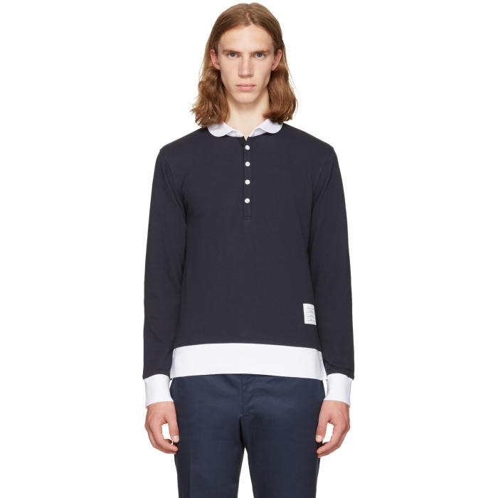 Thom Browne Navy Long Sleeve Collection Polo