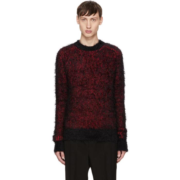 Saint Laurent Black and Red Grunge Crewneck Sweater