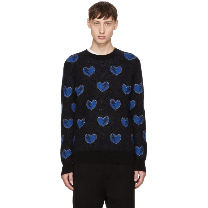 Saint Laurent Black Heart and Lightning Bolt Sweater