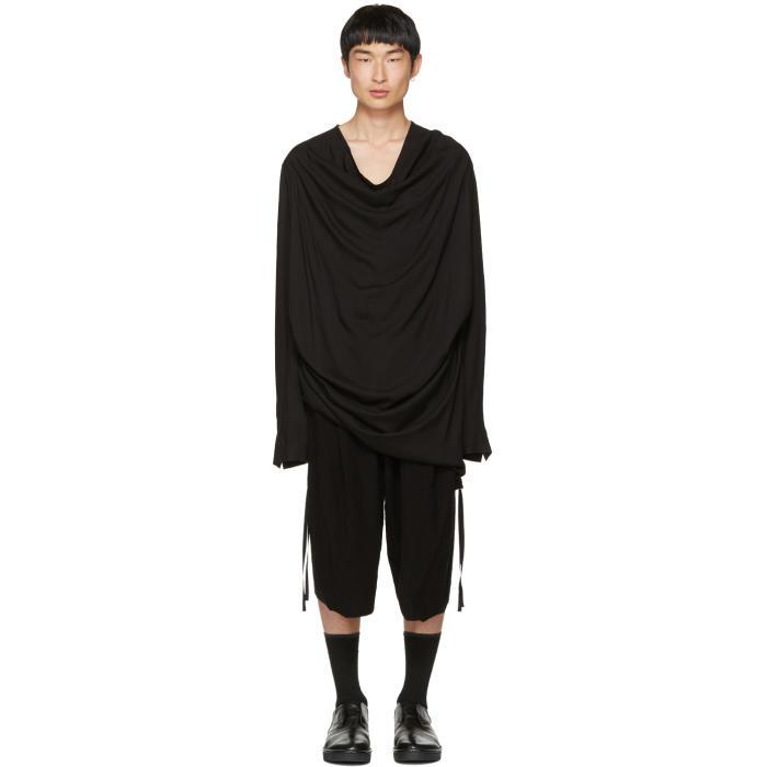 Julius Black Draped Shirring Shirt
