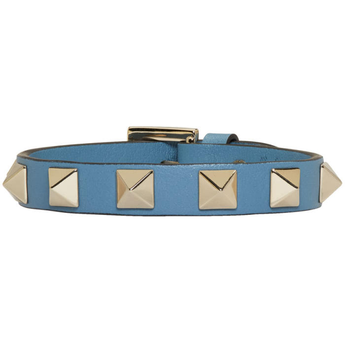 Valentino Blue Leather Single Rockstud Bracelet