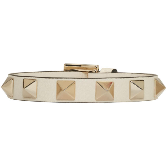 Valentino Ivory Leather Single Rockstud Bracelet