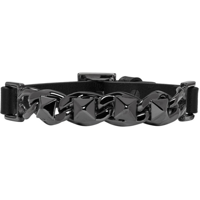 Valentino Black Leather and Chain Rockstud Bracelet