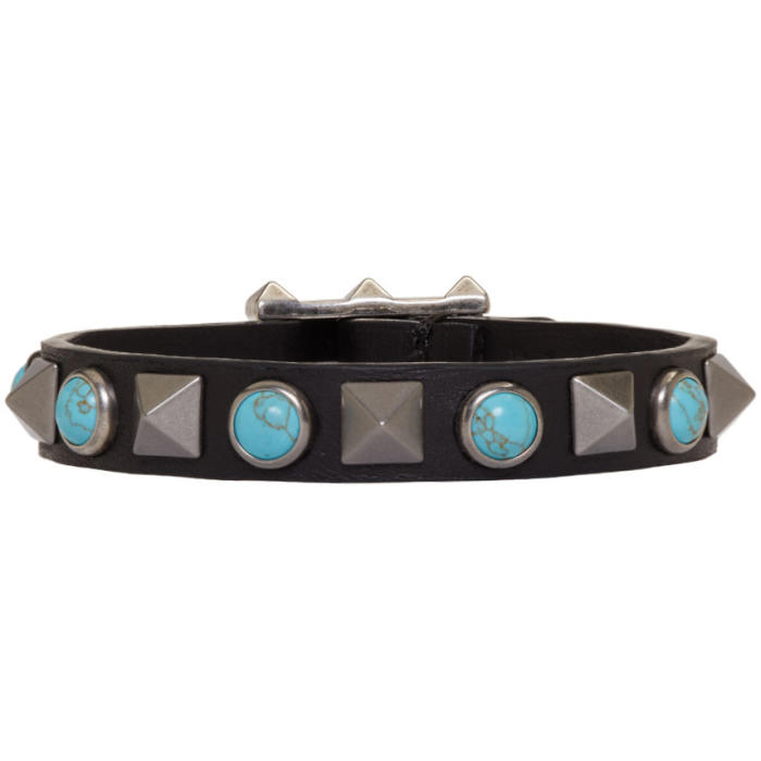 Valentino Black and Blue Rolling Rockstud Bracelet