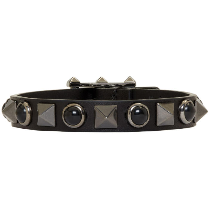 Valentino Black Leather Rolling Rockstud Bracelet
