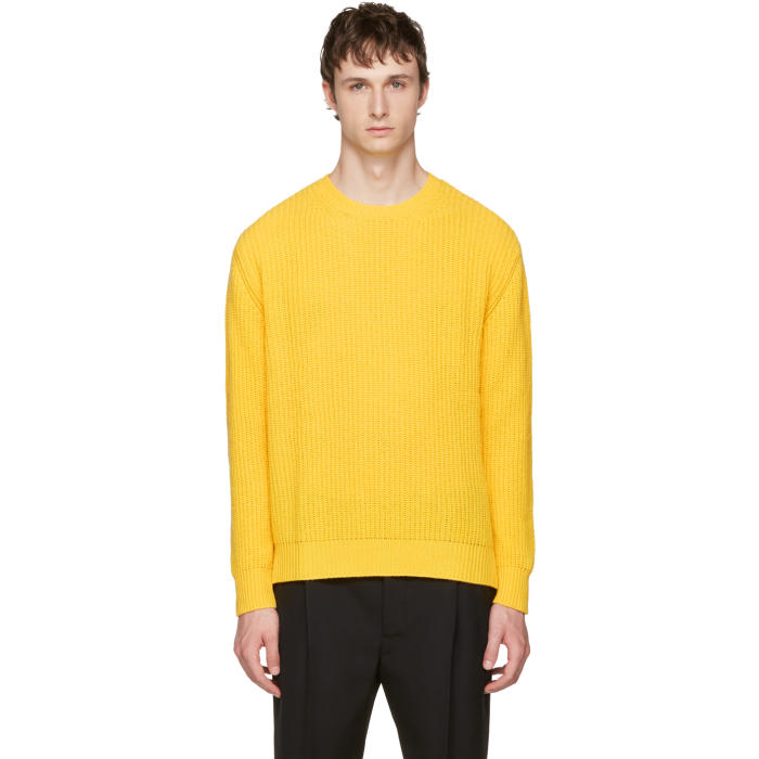 Valentino Yellow Cashmere Crewneck Sweater