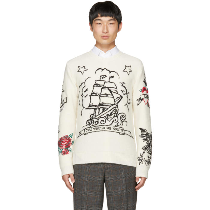 Valentino Off-White You Would Be North Tattoo Sweater