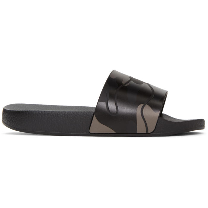 Valentino Black Camo Slide Sandals