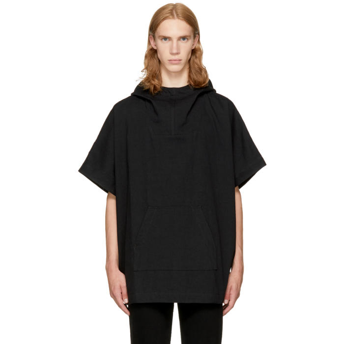 Naked and Famous Denim Black Denim Poncho Hoodie