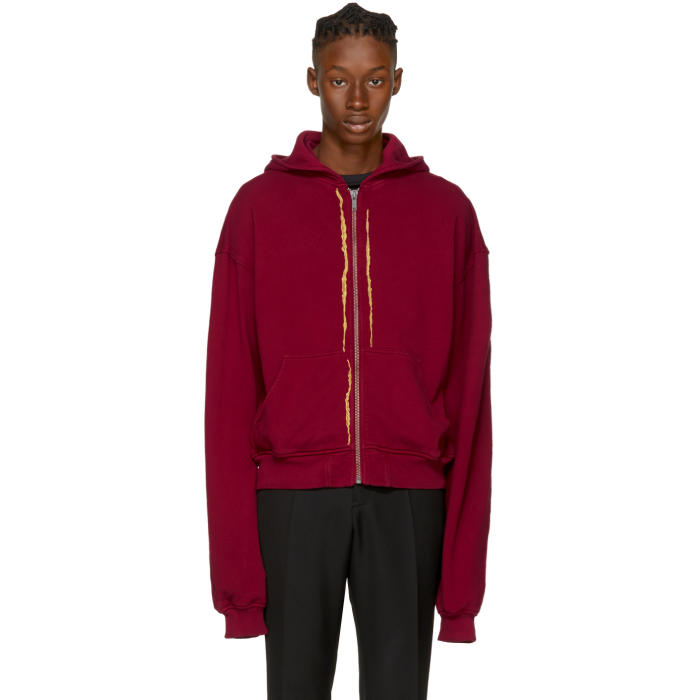 Haider Ackermann Red Embroidered Zip Hoodie