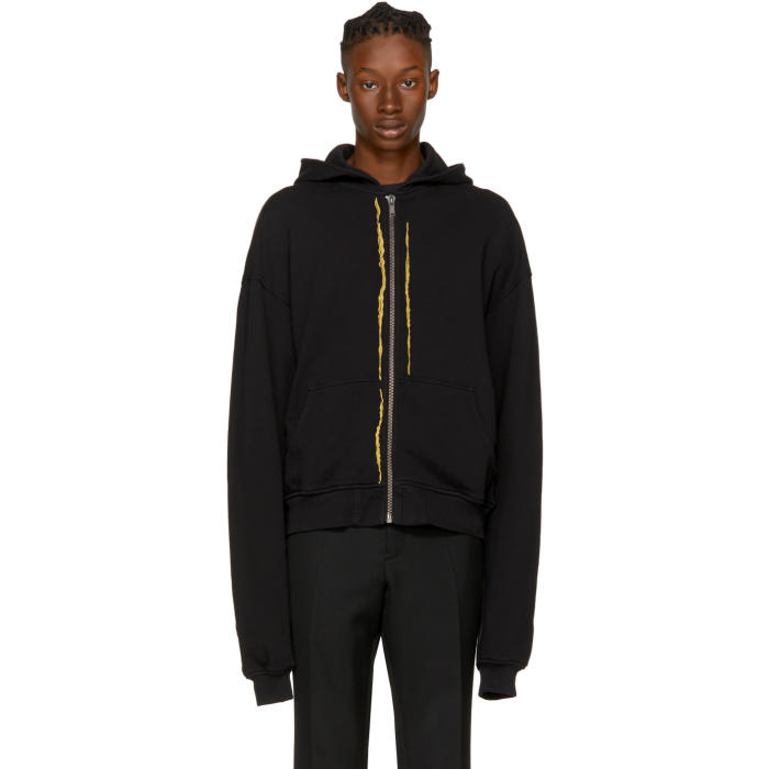 Haider Ackermann Black Embroidered Zip Hoodie