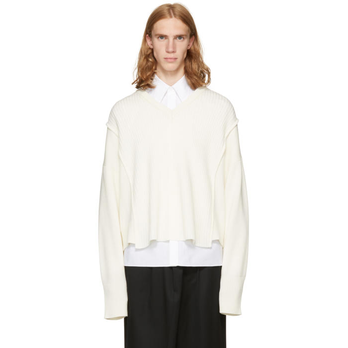 Christian Dada Off-White Oversized Detached V-Neck Sweater