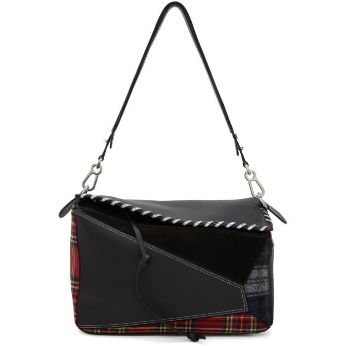 Loewe Red and Black Tartan XL Puzzle Bag