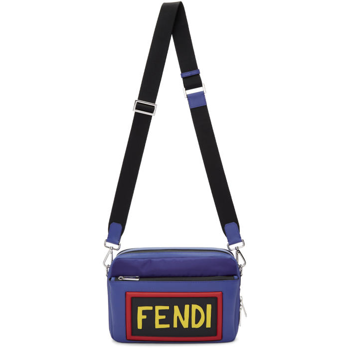 Fendi Blue Nylon and Leather Logo Camera Bag