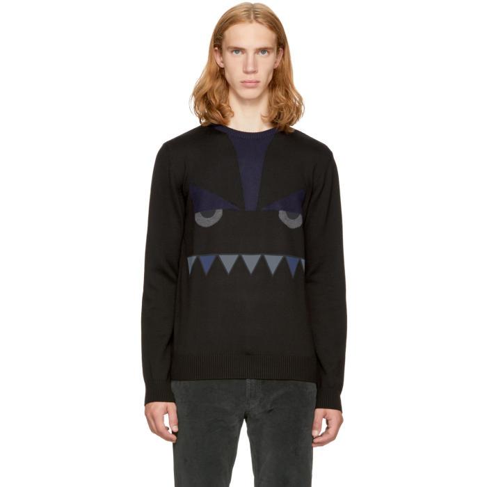 Fendi Black Bag Bugs Crewneck Sweater