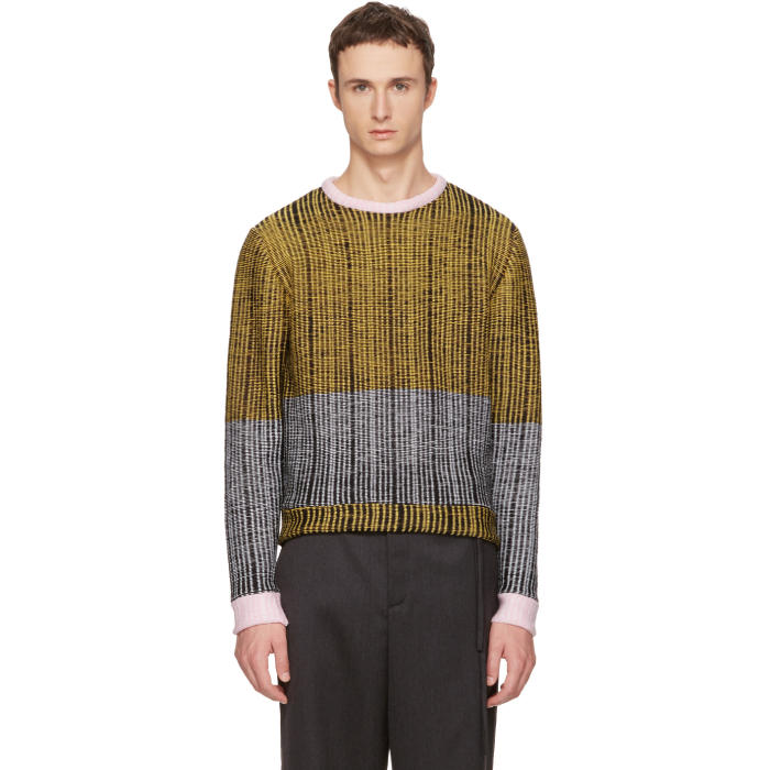 Eckhaus Latta Black and Yellow Wiggly Road Sweater