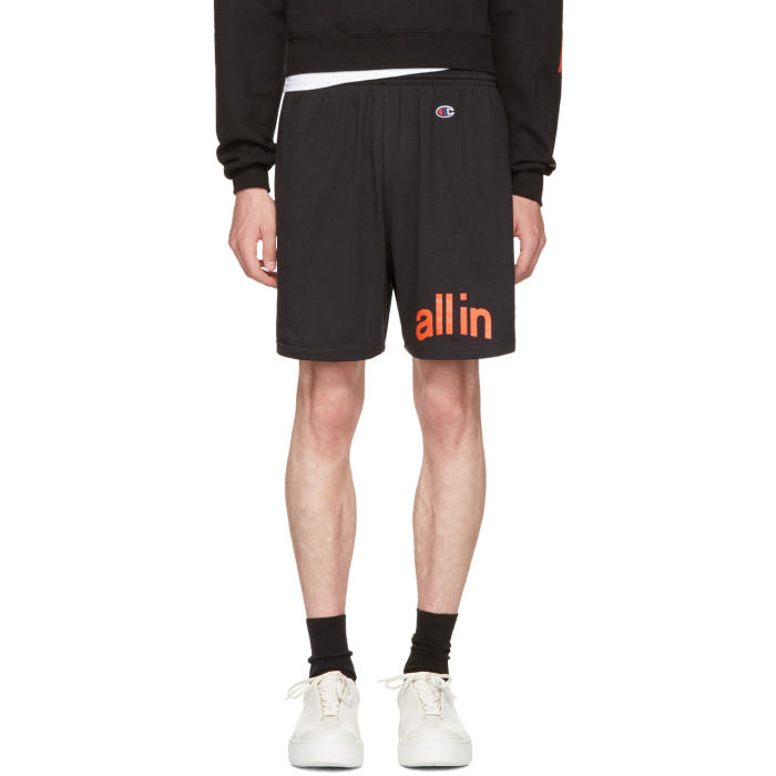 all in Black Champion Edition Logo Shorts