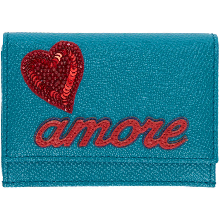 Blue Trifold 'Amore' & Heart Wallet
