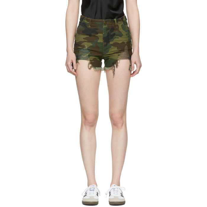Distressed Camouflage Print Camp Shorts in 325 Camo