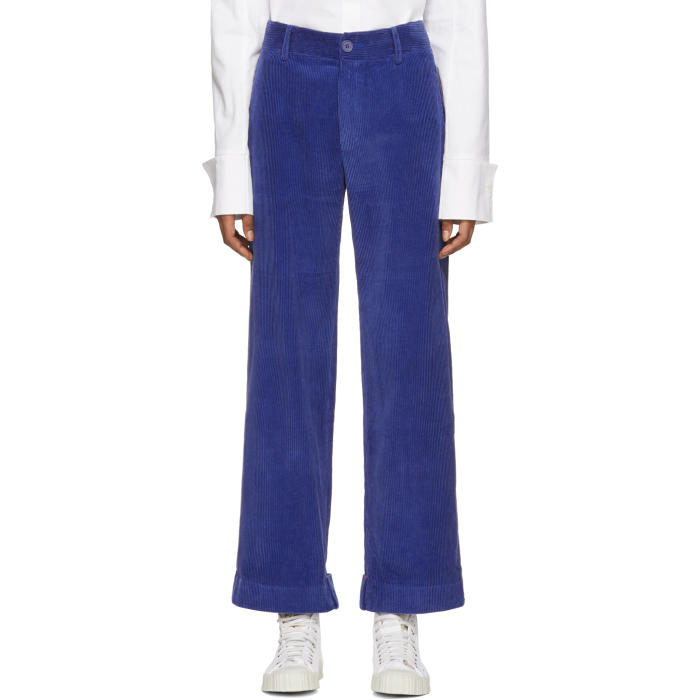 ADER error Blue Folded Corduroy Trousers thumbnail